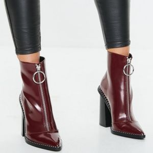 Missguided zip front ring pull boots